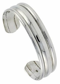 Sterling Silver Triple Domed Cuff Bangle Bracelet 14.4 mm (9/16 in.) wide Sabrina Silver. $179.68