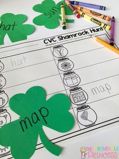 CVC write the room. Just add shamrock cut outs. Download the free recording sheet on her blog.