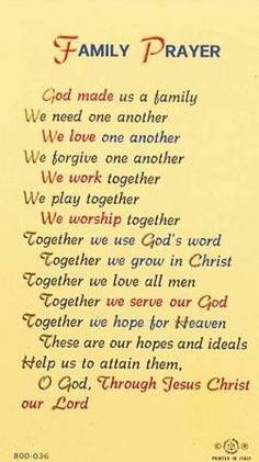 Family Prayer: this is my hope and this is my prayer for our family. Prayer Scriptures, Bible Prayers, Faith Prayer, Catholic Prayers, Prayer Quotes, My Prayer, Spiritual Quotes, Bible Quotes, Bible Verses