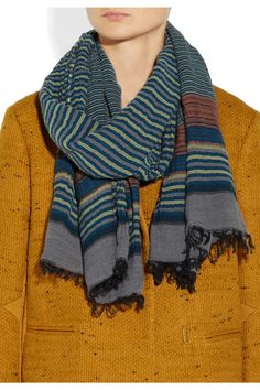 Missoni | Striped knitted cotton-blend scarf | NET-A-PORTER.COM
