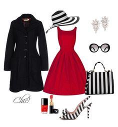"""""""Espero que te guste esté Outfit rojo con rayas negras y blancas."""" by mama-superstar on Polyvore"""