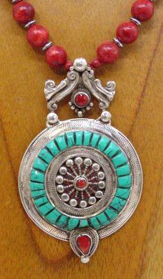 Tibetan Qazi Wheel mandala necklace by SilkRoadJewelry  
