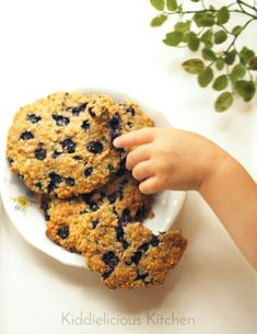 blueberry zucchini cookies. Delicious healthy snack idea for kids!