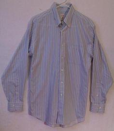 Brooks Brothers Dress Shirt Blue Medium Striped Button Up Non Iron Long Sleeve