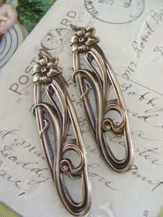 Art Nouveau Earrings  Vintage Brass Long by chloesvintagejewelry, $28.00