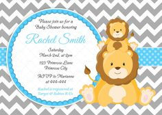 Lion Baby Shower Birthday Invitation Custom Design Printed