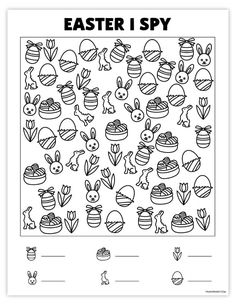 Today, I'm happy to share with you this fun free printable Easter I Spy game. This game would be perfect for any holiday classroom party, a rainy day. Easter Games, Easter Activities, Activities For Kids, Spy Games For Kids, I Spy Games, Easter Worksheets, Worksheets For Kids, Free Baby Shower Printables, Free Printables
