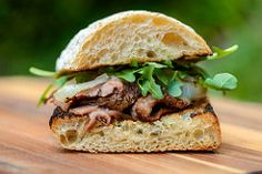 #bbq Marinated Flank Steak Sandwiches with Charred Onions #foodie