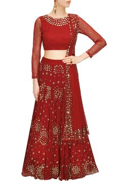 ASTHA NARANG Wine red sequins embroidered lehenga set available only at Pernia's Pop-Up Shop.
