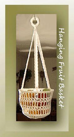 Hanging Fruit Basket, free crochet pattern on Crochet Memories Blog