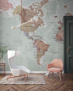 Classic World Map Wallpaper Wall Mural MuralsWallpapercouk - World map wallpaper for home