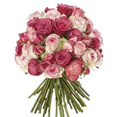 Shocking Pink and Raspberry Bouquet - Purple Power Roses, Dolce Vita Roses, King Arthur Spray Roses and Esperance Roses.