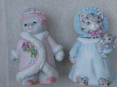 2 Vintage 1980s Kitty Cucumber Figurines