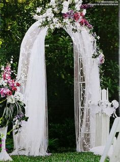 Celebrate It Occasions™ Pre-lit Arch -this  elegant archway is a wonderful addition to the wedding ceremony. Use it as a backdrop when exchanging vows or as a dazzling entryway to the reception