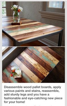 This tip has your name on it Turn Disassembled Pallet Boards Into A Beautiful, One Of A Kind Table!  #tipit