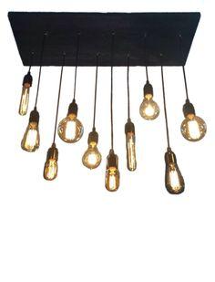 10 Edison Bulb Industrial Chandelier Pendant lights Urban Chandelier Reclaimed Wood Rustic lighting Modern Dining chandelier Ceiling Light by HangoutLighting on Etsy https://www.etsy.com/listing/192216615/10-edison-bulb-industrial-chandelier