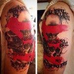 Shoulder Skulls Trash Polka Tattoo Body Art Tattoos, Sleeve Tattoos, Cool Tattoos, Awesome Tattoos, Tatoos, Shoulder Tattoo, Tree Branches, Crow, Tattoos For Guys