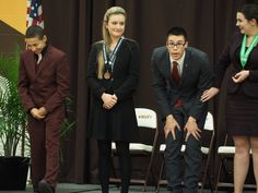 1A speech Creative Expression: Angello Bell/Blackduck (left) learns he placed second; Tom Hawkins/St.Cloud Cathedral learns he's state champ
