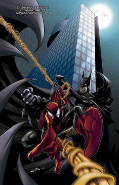 La Mole Batman vs Spiderman by Sandoval-Art on DeviantArt Marvel Comic Universe, Batman Universe, Batman Vs Spiderman, Amazing Spiderman, Marvel And Dc Crossover, Batman Poster, Marvel Comics Superheroes, Batman Wallpaper, Best Superhero