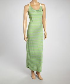 Look at this #zulilyfind! Gray & Lime Rope Racerback Maxi Dress - Women #zulilyfinds