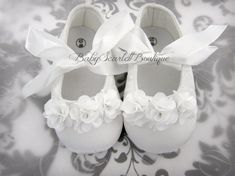 White Satin Baby Girl ShoesCrib ShoesSoft by babyScarlettBoutique, $16.00