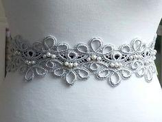3 Silver Lace Trim Venice Laces Sash Trim Lace Cuff by MakingPlus