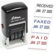 Shiny S-303 Self-Inking Rubber Date Stamp - PAID FAXED RECEIVED or SCANNED - Customize Message and Color Online