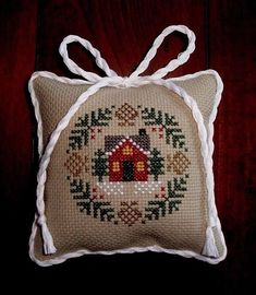 finished completed cross stitch Christmas ornament pillow Prairie Schooler | eBay