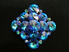LARGE Blue / Green Rhinestone Weiss Brooch at Tons of Treasures in Laguna Niguel ~ Like us on Facebook!  https://www.facebook.com/pages/Tons-of-Treasures/112400565564963