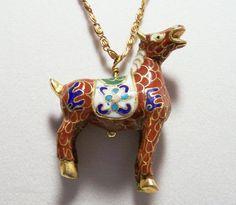 Vintage Chinese Enamel Horse Pony Pendant by GretelsTreasures