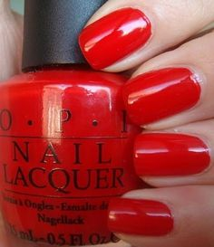 O.P.I. nail polish, color: Big Apple Red, New York City collection Fall 2000 (*THE* classic red creme)