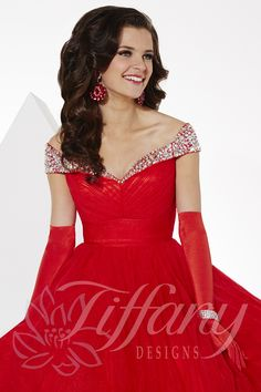 Tiffany Designs Style 61123: Off the shoulder A.B. rhinestone collar with sweetheart neckline, pleated bodice with full tulle A-Line ball gown skirt. Zipper back. #prom #pageant #ballgown #TiffanyDesigns