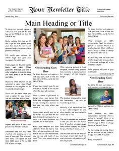 "Classic, newsy front page for any school. Try this 11""x14"" newsletter template now using our Free Cloud Designer: www.makemynewspaper.com/free-newsletter-templates"