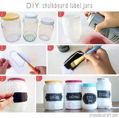 Chalkboard paint makes neat jars you can re-label any time. | 21 Adorable DIY Projects To Spruce Up Your Kitchen