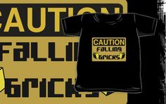 """Caution Falling Bricks by Customize My Minifig"" Kids Clothes by ChilleeW 