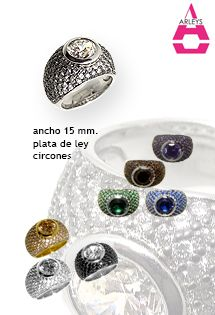 Anillos de plata de ley de la firma Arleys Jewelry disponibles en 8 colores con una circonita central. Alta joyería de plata hecha sortija.