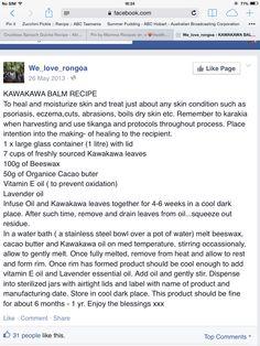 Kawakawa balm recipe with lavendar oil etc