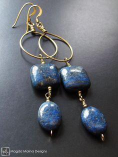 Belle Handmade Bold Bleu Lapis Lazuli Argent Boucles d/'oreilles 6-12 mm