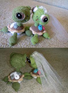 Crochet Amigurumi Bride and Groom Wedding Green Sea Turtles - Pattern by Peggytoes on Etsy