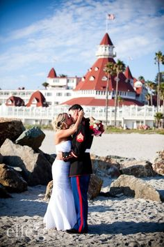 Our Military Mondays wedding, Hotel Del Coronado in San Diego, CA. Reverend Tuttle performs free weddings with the help of florists, photographers, videographers and musicians to give back to the #military. How awesome is that?