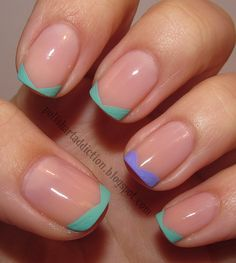 Cute triangle point french nails in pastel colours