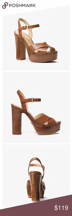 256bd5e6b7f85 Michael Kors Sia Leather Platform Sandal Perfect condition Michael Kors  heels