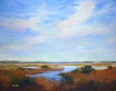 Art Original Pastel Painting Autumn Marsh by KarenMargulisFineArt, $175.00