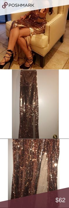gold maxi dress with slit worn once Dresses Maxi