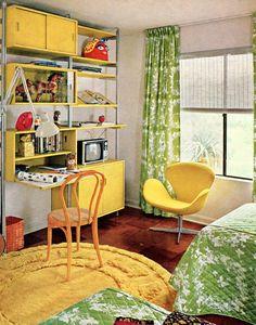 Bedroom Decor Kiddo Time Machine Vintage Kids Room Were Swank Modern Kiddo Room Accessories, retro interior design inspiration, contemporary interior design Design Retro, Vintage Interior Design, Deco Design, Vintage Interiors, Design Design, Retro Room, Vintage Room, Bedroom Vintage, Vintage 70s