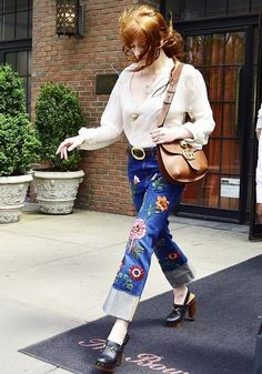 Florence Welch, Celebrity Style, Gucci, Patchwork Denim, Clogs, Outfit