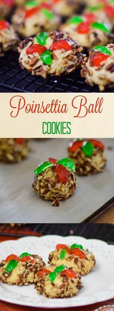 Poinsettia Ball Cookies - A festive cookie for the holidays! Easy to make and sweetened only with honey.