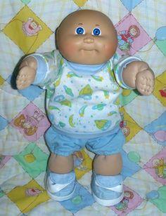 Vintage Cabbage Patch Kids Bald Boy Blue Eyes Pajamas Space PJs Clothes Slippers Bald Boy, Pjs, Pajamas, Vintage Cabbage Patch Dolls, Cabbage Patch Kids Dolls, Boy Blue, Strawberry Shortcake, Blue Eyes, Babys