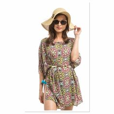 ‼️COMING SOON‼️BELTED CHIFFON SWIM COVER-UP Adorable mixed print fashion belted COVER-UP Boutique Swim Coverups