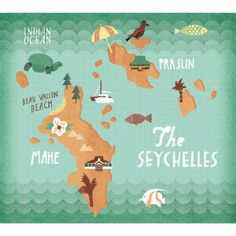 Gary Venn Illustration - Seychelles map Seychelles Africa, Les Seychelles, Seychelles Islands, Beautiful Places In The World, Beautiful Beaches, Places To Travel, Places To Go, Travel Log, East Africa